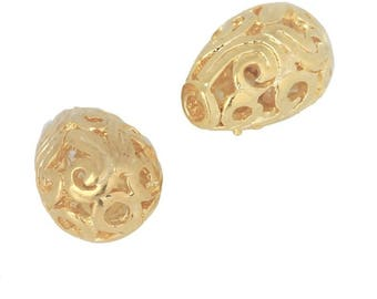 Pearl plated 18 KC, drop Pearl Gold, pierced bead, flower jewelry bead, filigree,.