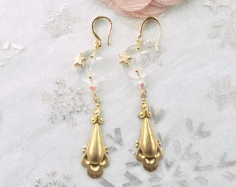 gold and transparent earring, vintage earring, retro earring, crystal BO, crystal swarovski crystal