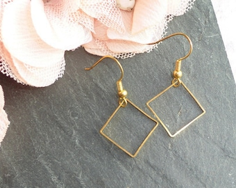 Square Earrings, stud earring gold, support graphic loop, stainless steel hook