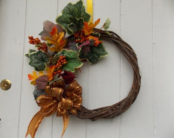 "Autumn Foliage and Berry Wreath 13"" - 16"" Diameter (33cm - 41cm)"