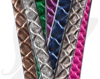 20 cm Strip leather 10mm embossed crocodile - CFLE10 7001 1 skin effect