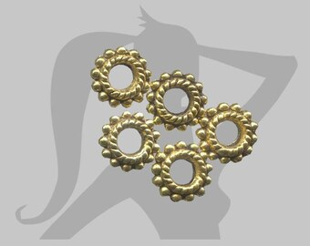 5 x washers decorated gold metal 8mm beads