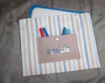 Handmade clutch in Slate-white blue stripes and taupe - custom-