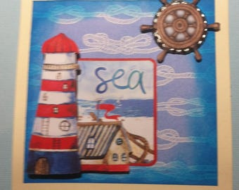 3D, marine theme happy birthday card