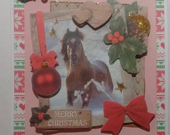 Merry Christmas, snow, Nordic horse, 3D card