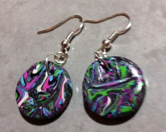 Colorful round earrings in polymer clay