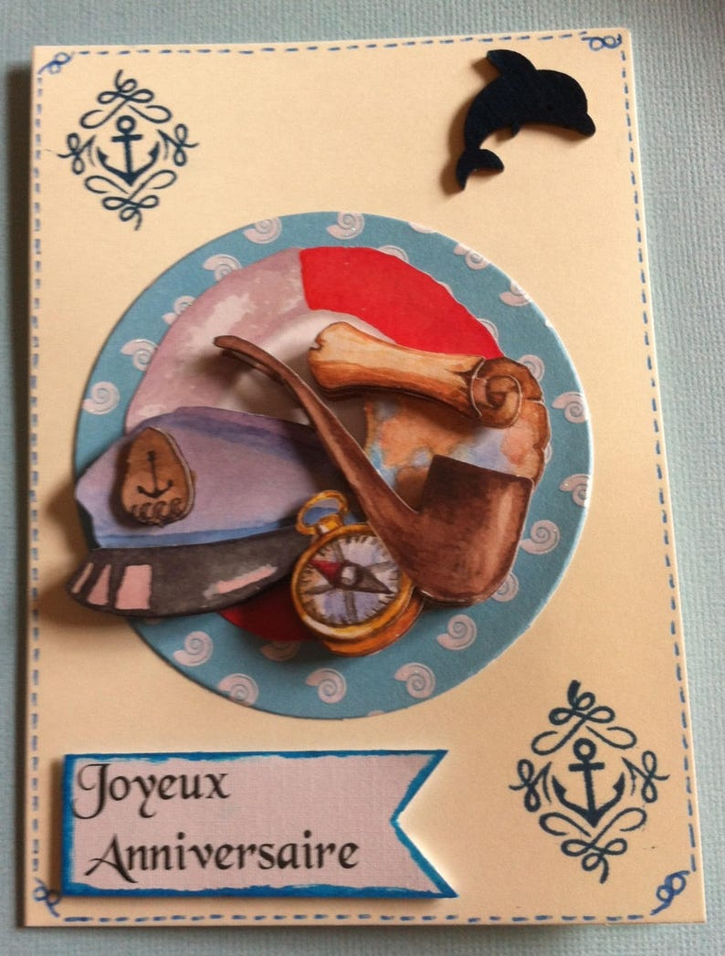 Carte Joyeux Anniversaire Theme Marin Homme Etsy