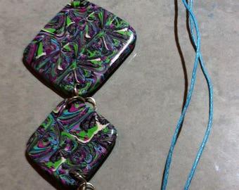 Decreasing square medallions trio necklace