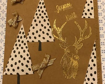 Christmas, deer and tree, Kraft base card