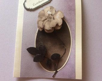 Grey flower sympathy card
