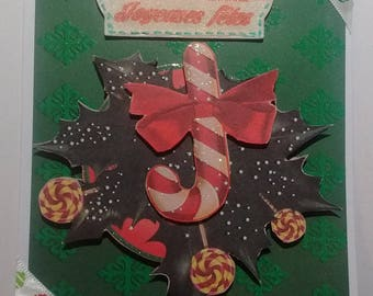 Happy holidays card, sugar candy and Holly, 3D