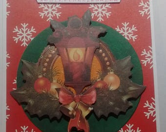 Merry Christmas and happy new year card, 3D Lantern