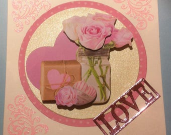 card Valentine's day, 3D, heart, bouquet of roses and gift
