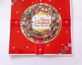 """Merry christmas Happy New Year"", round 3D card"