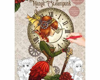 Manga steampunk themed coloring book