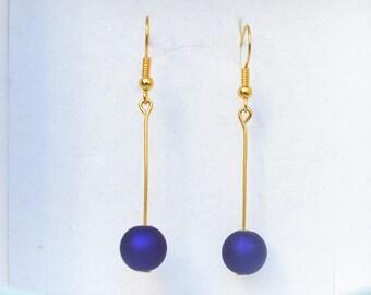 Gold Eggplant Purple Pearl Earrings