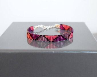 Woven bracelet pink raspberry, purple, and purple beads Miyuki Delicas
