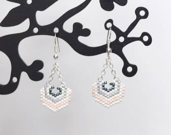 Pale pink and blue pearl earrings