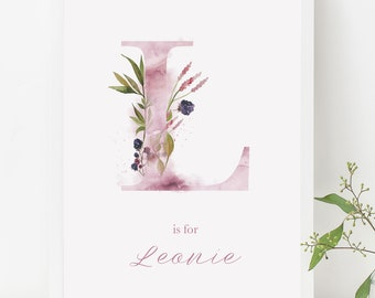 Personalised Ethereal Woodland Initial Nursery Watercolour Alphabet Print New Baby Gift Christening Gift
