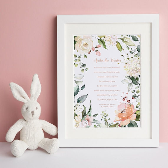 PERSONALISED Bunny Rabbit Godfather Godmother Godparent Card Christening Baptism