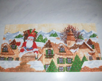 "Pretty NAPKIN pattern ""Santa Claus on a roof"""