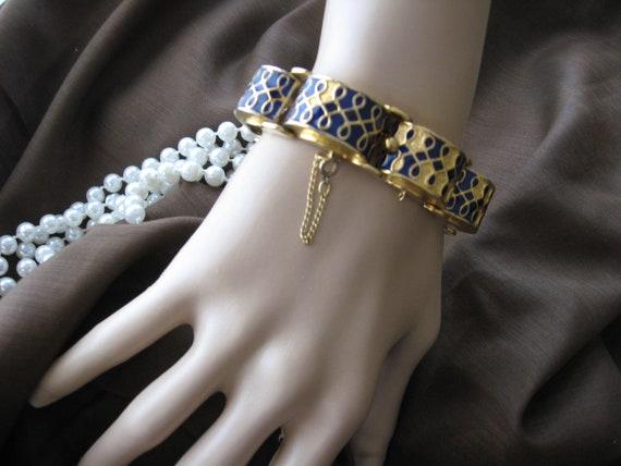 Jomaz Mazer  Chunky Blue Enamel Bracelet