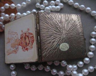 VINTAGE FLAPPER COMPACT:  1920s Art Deco Square Compact Mirror, Vintage Handbag Mirror, Makeup Mirror