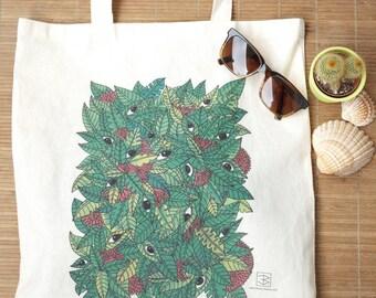 "Tote cotton Bag ECRU ""The Jungle has eyes"""