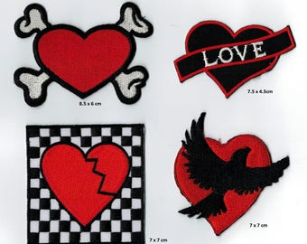 Set of 4 badges heart / Love embroidered, heat-sealed or Coudres Applique