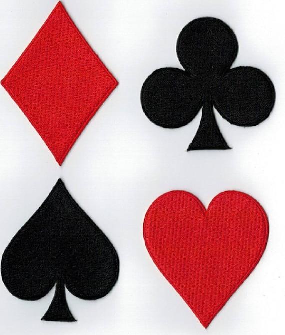 4 Klee Herz Diamant Spaten heissgesiegelt Abzeichen oder Nähen