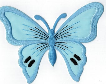 Butterfly patch embroidered iron or sew sailor blue. Applique Patch 13 x 9.5 cm