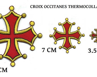 Occitan Cross embroidered thermostick or sewing ecusson. Apply Patch PAYS D OC Red and Yellow