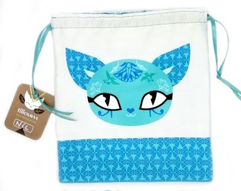 Egyptian blue cat pouches in organic cotton, NIL the Mysterious, sleeping double face kitten, goddess Bastet