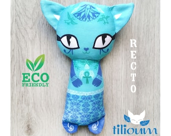 Turquoise blue Egyptian cat rattle, ecological toy organic cotton illustrated two faces, cuddly kitten comforter baby birth gift ankh Bastet
