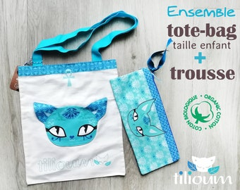 """Pencil case School bag Egyptian cat Bastet blue turquoise """"NILE"""" in organic cotton and satin lining lotus with water lily ankh oudjat"""