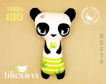 "Rattle ""BAO"" the little panda, 100% organic cotton toy, baby gift"