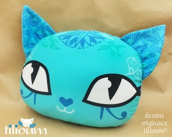 """Blue Cushion customizable with name, egyptian cat """"NIL"""" cotton and fleece pillow, decorative cat head"""