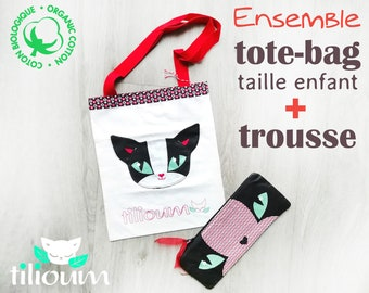 """Black and white cat bag + pencil case set in organic cotton """"KEMY the Dreamer"""""""