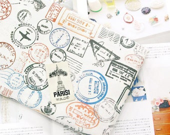 Colour Stamps 100 Cotton Fabric By THE YARD Quilting Postal Stamp Postage DTP Yk Fabrics JC6 44