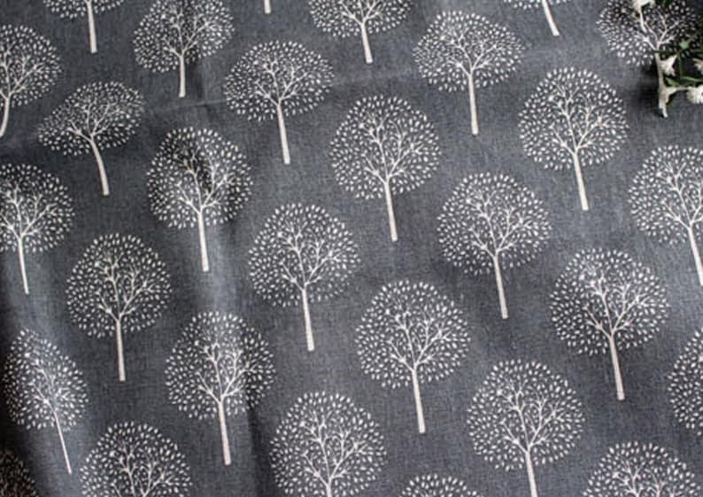 Birch tree LINEN cotton fabric By THE YARD  modern grey trees print curtain fabrics  Yk fabrics JL243=