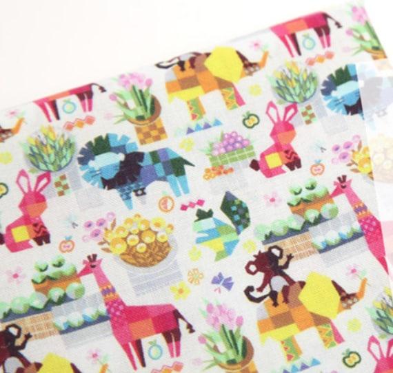 Pink rabbit 100/% Cotton Fabric BY THE YARD Animal rabbits Cute bunny JC9//15