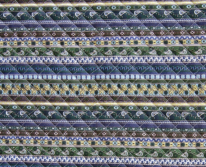 Ethnic Bohemian Ready quilted Fabric  cotton Pre-quilted padded striped BY THE YARD  stripes navy brown plum  Yk fabrics 974521: