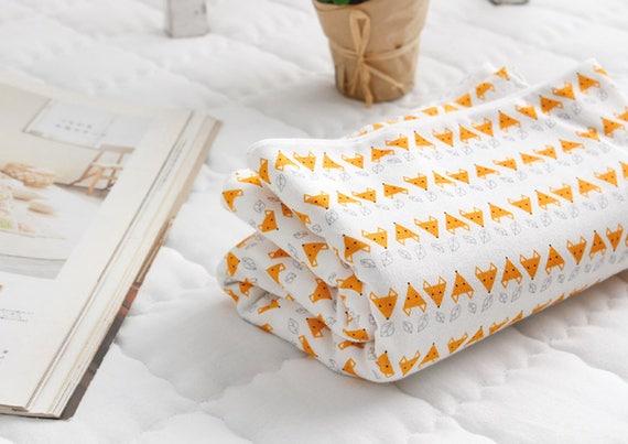 Orange fox animals 100/% Cotton baby jersey fabric BY THE YARD stretch JJ2//50