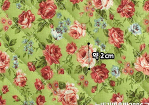 Roses Floral Cotton blend Ready quilted Fabric Flower Pre-quilted padded JQ42+