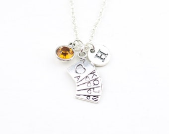 Playing Card Necklace Personalized Jewelry Silver cards charm online casino gift Birthday gift for her Poker Necklace Custom Jewelry