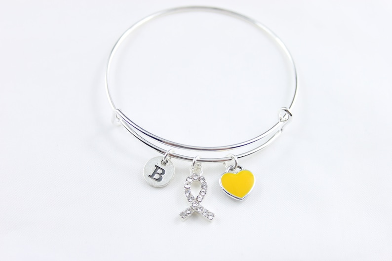 yellow Ribbon Survivor Cancer Jewelry Gift for Patient gift for sister Sarcoma bracelet gift for friend bone Cancer gift for survivor