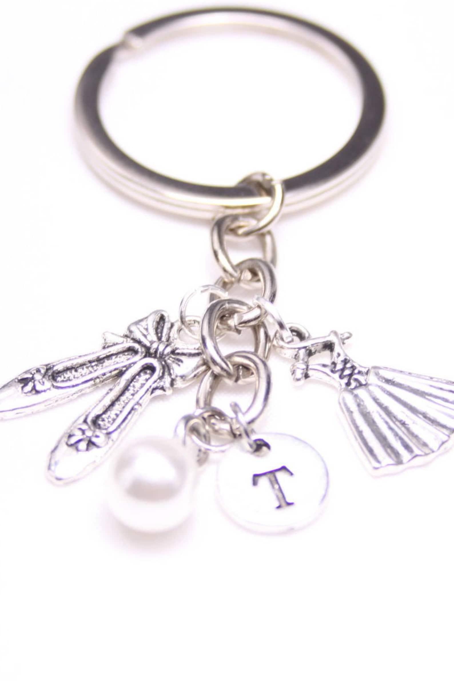personalized ballerina keychain gift, ballet shoes dress keyring gift, dancer keychain, gift for best friend, gift for friend, g