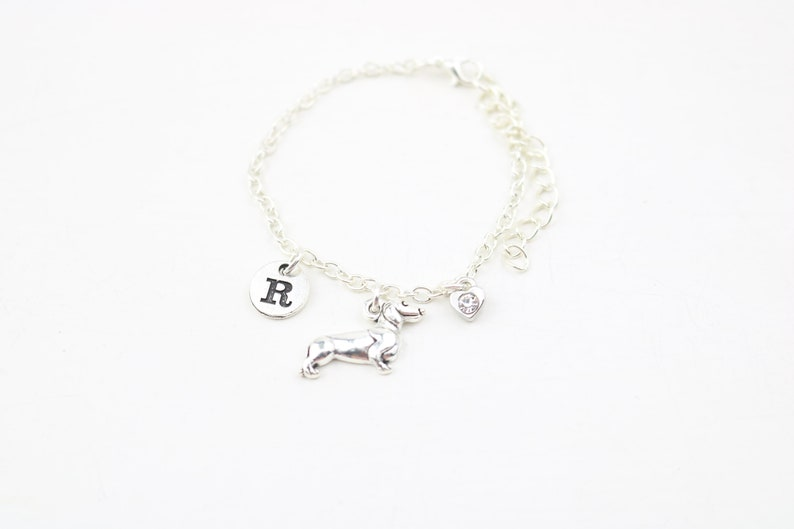 Dog Bracelet Dog owner gift silver sausage dog charm Doxie bracelet Wiener gift birthstone jewelry gift monogram gift Weenie dog gift