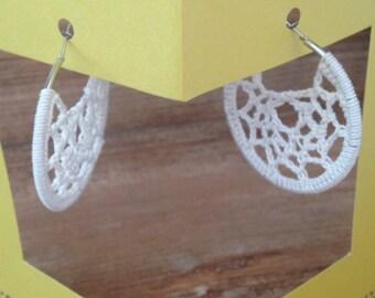 """""""Natural hoop"""" earrings crochet lace"""