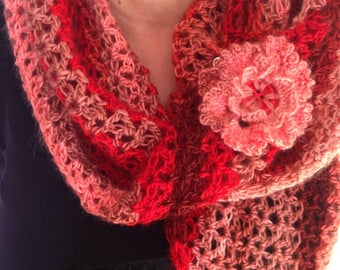 Beautiful scarf, crocheted in red shades, Burgundy and pink flower pin